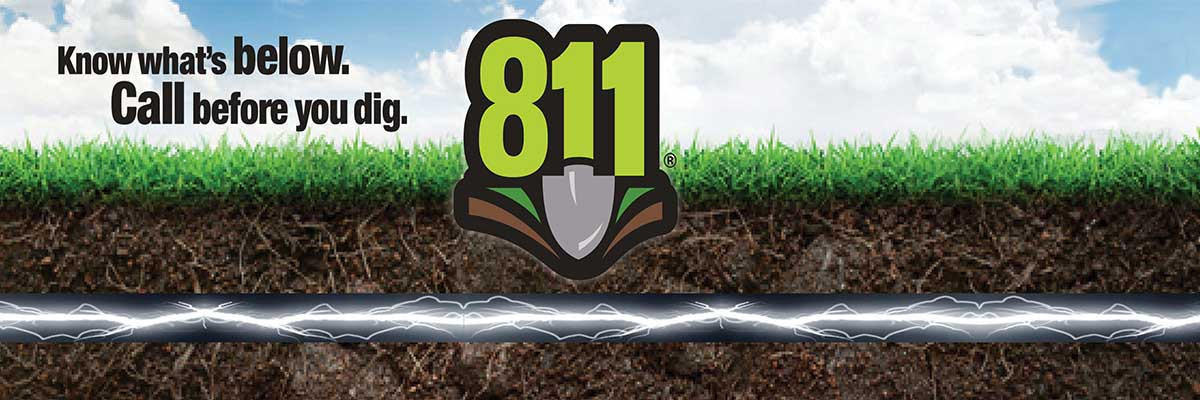 811 logo, Know what's below, call before you dig.