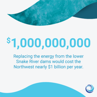 $1,000,000,000, Replacing the energy from the lower Snake River dams would cost the Northwest nearly $1 billion per year.