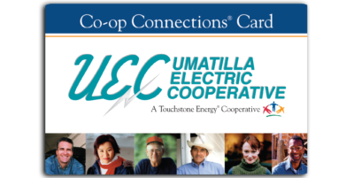 Co-op Connections Card with images of several people on the bottom. UEC Umatilla Electric Cooperative, A Touchstone Energy Cooperative..