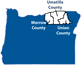Morrow County and Union County on either side of Umatilla County